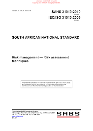 SANS 31010 : 2010 - IEC/ISO 31010 : 2009