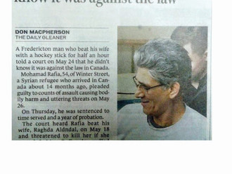 Jihad Watch: Fredericton Muslim beats wife with hockey stick; it's normal?