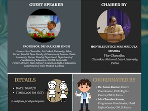 """Guest Lecture: """"Impact of COVID-19 on Learning and Well-being of Children"""" [20th July, 2021]"""