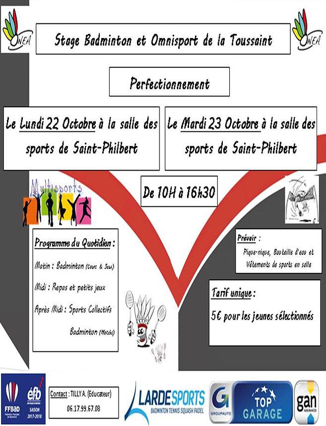 Affiche Stage Tout Public Toussaint Site