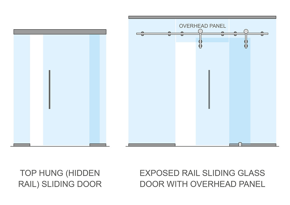 Sliding glass doors with hidden and exposed fixings