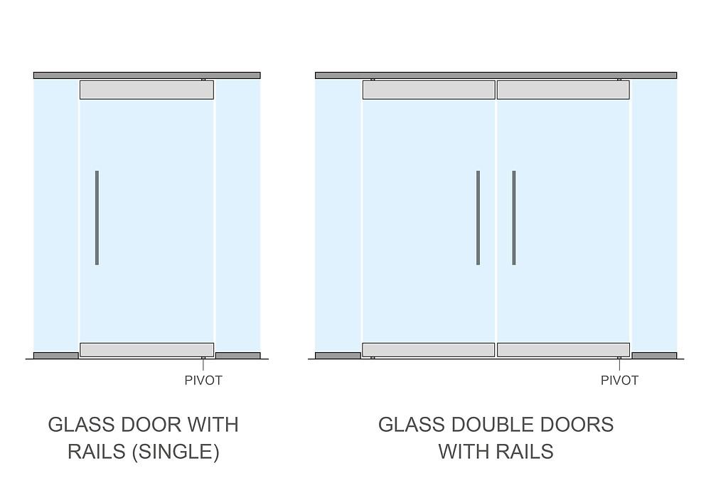 Glass doors with door rails
