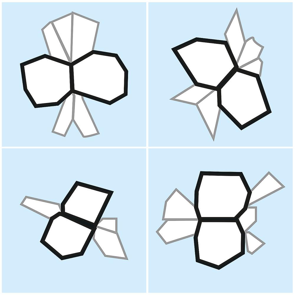 Butterfly wings pattern in spontaneous glass breakage