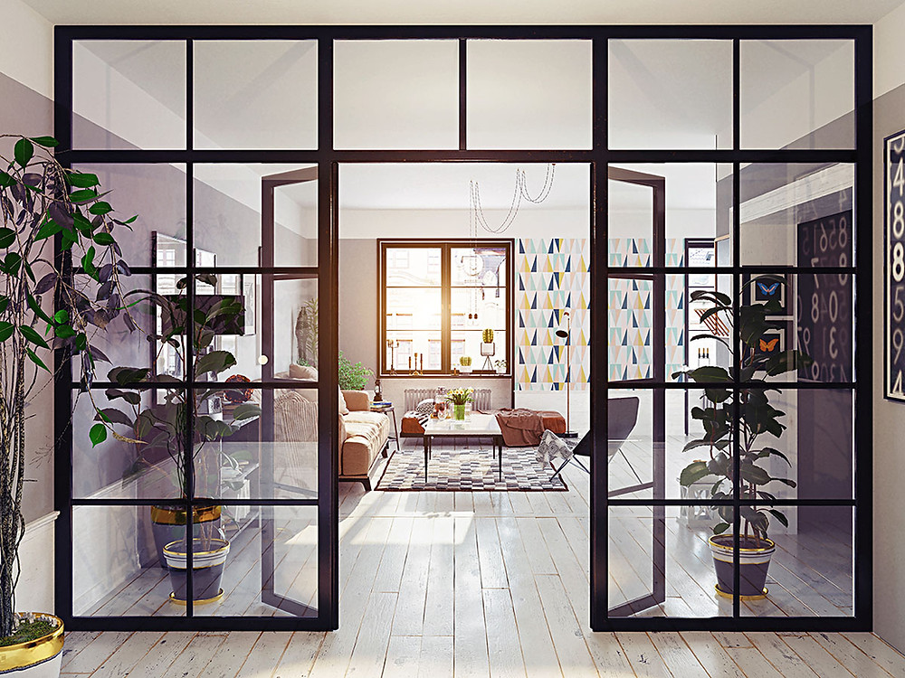 Industrial style glass partitioning in a home