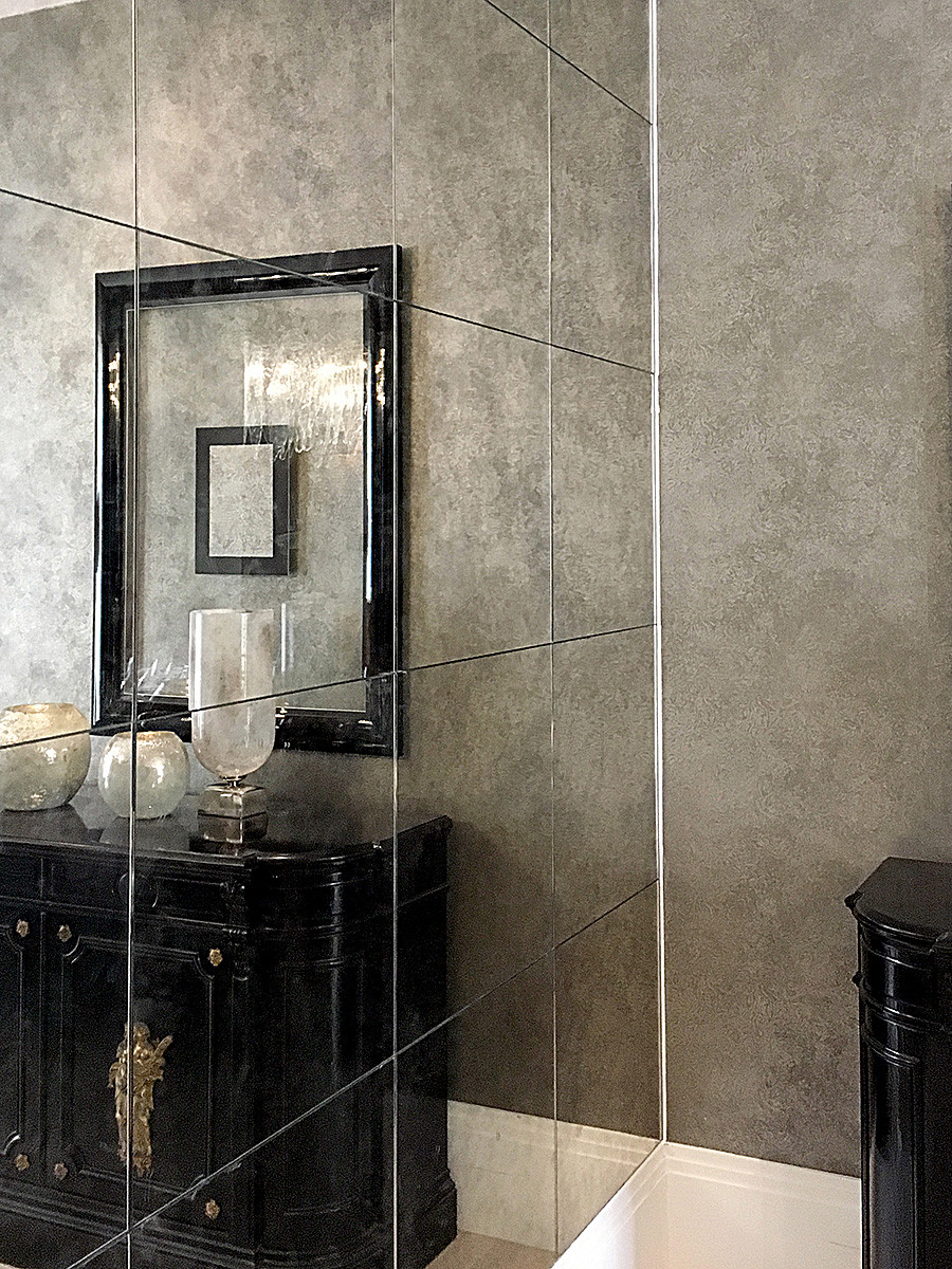 Tinted mirrors squares to cover wall