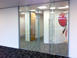Standard DDA dots on glass partition