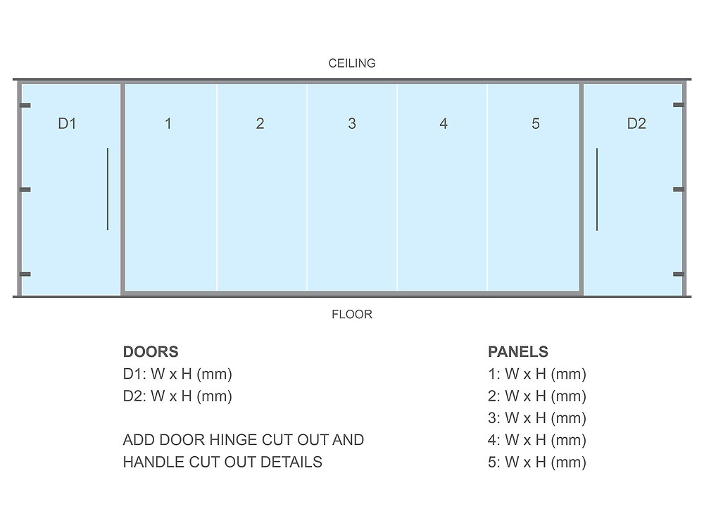 Glass Partitioning Elevation Drawing