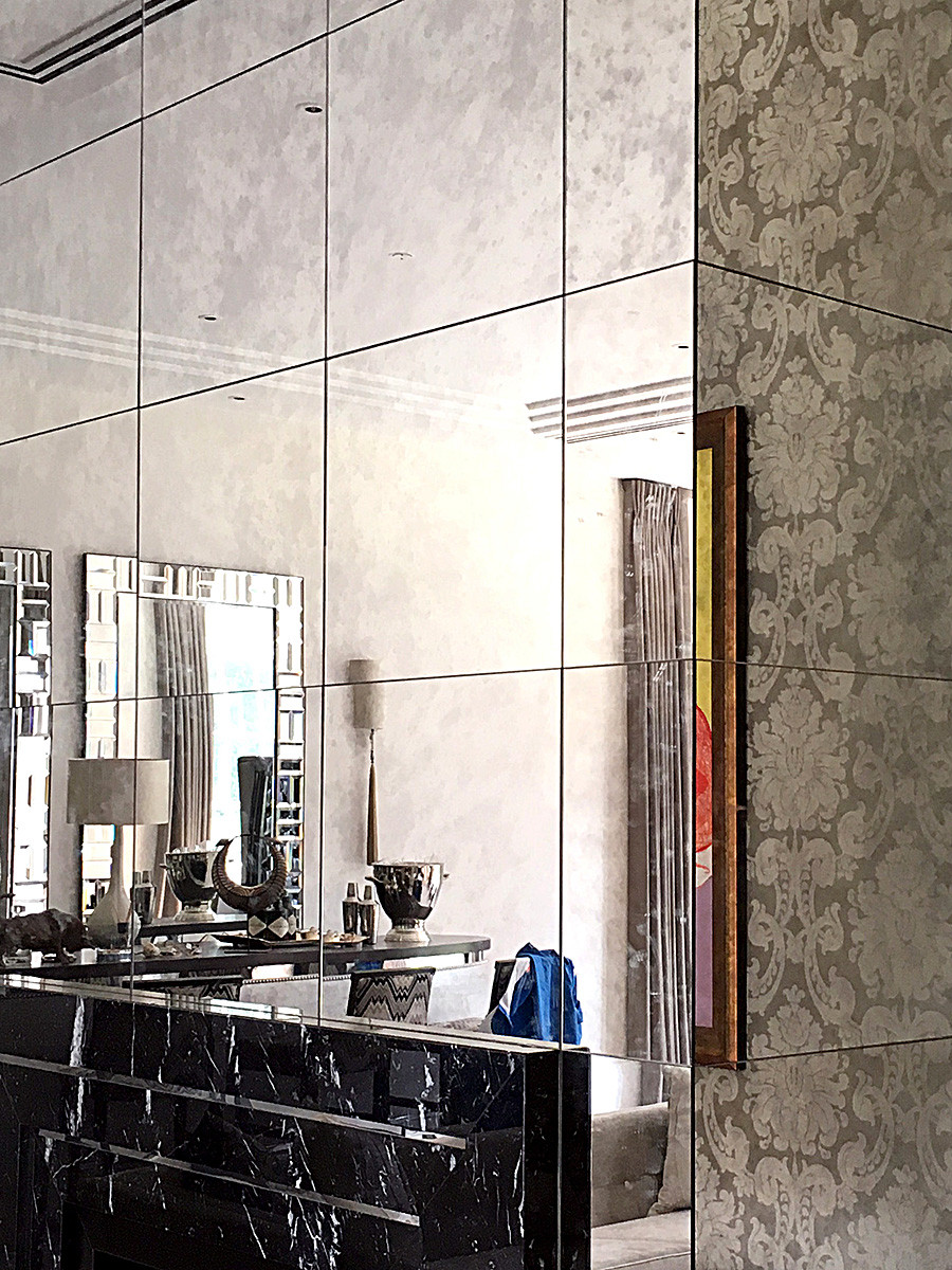 Mirror squares create a feature wall