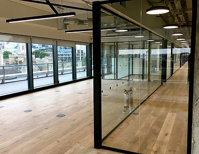 Glass office partitioning for WeWork, Tower Bridge