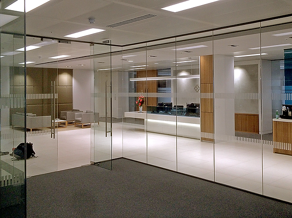 Single glazed glass office
