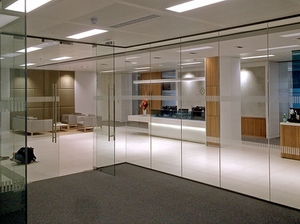 Single glazed frameless partition