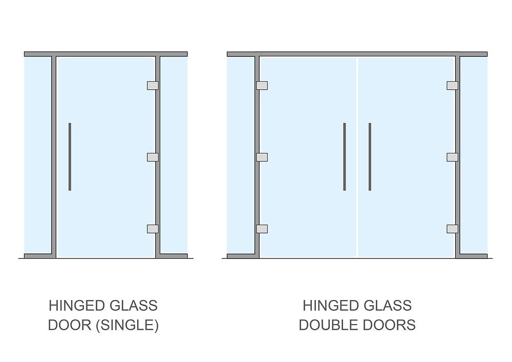 Hinged glass doors