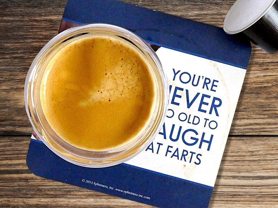 Fresh coffee espresso on my favourite coaster