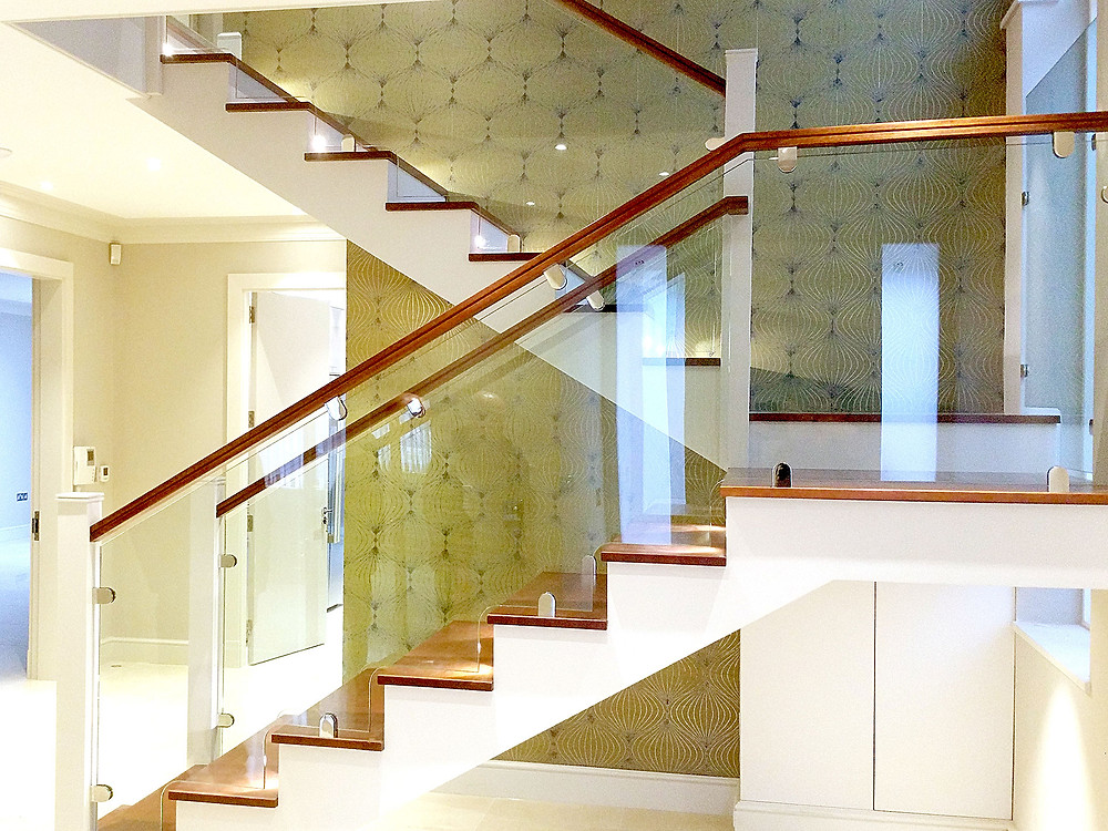 Glass balustrade used internally on staircase