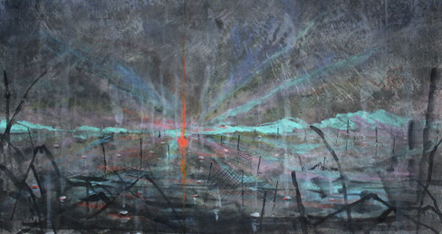 """""""The Eternal Flame""""  Ink and Color on Paper, 73 x 133 cm, 2020   《長明燈》 水墨設色紙本, 73 x 133 公分,2020"""