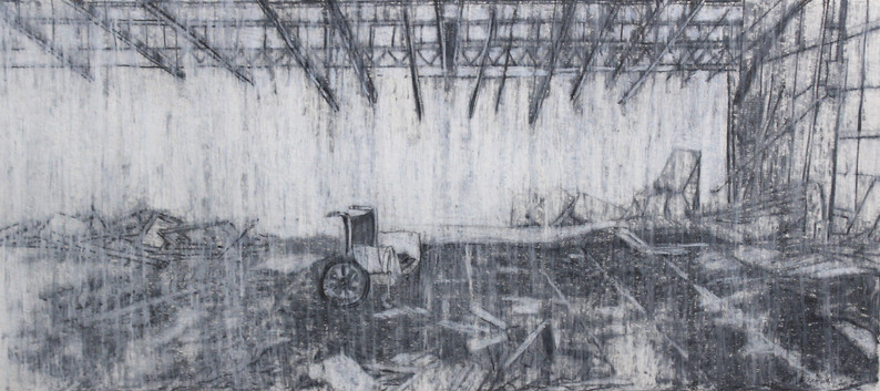 """The mist of time II""  Pencil and Wax Crayon on Paper, 39 x87cm, 2020  《迷霧 II》 木炭、鉛筆、蠟筆紙本,39 x 87 cm,2020"