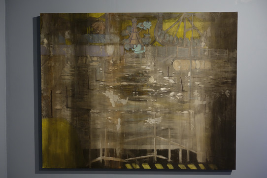 """Playground I "" Mixed Media on Canvas, 150 x 180 cm, 2019  遊樂場I 混合媒介布本,150 x 180 公分,2019"