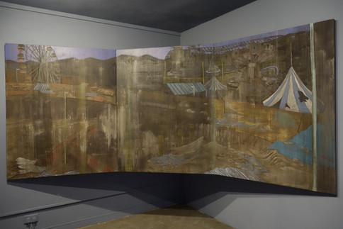 """Playground II "" Mixed Media on Canvas, 150 x 328 cm, 2019  遊樂場II 混合媒介布本,150 x 328 公分,2019"
