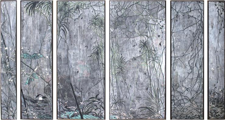 """The island of climbers"" Mixed Media on Canvas, 150 x 250 cm (set of 6), 2020  《藤蔓島》  混合媒介布本,150 x 250 公分 (一組六件),2020"