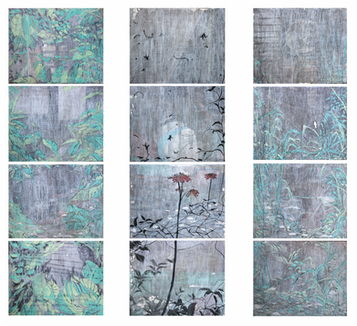 """Madeleine Cake"" Mixed Media on Canvas, 167.5 x 226 cm (set of 12), 2020  《瑪德蓮蛋糕》 混合媒介布本, 167.5 x 226 公分 (一組十二件),2020"