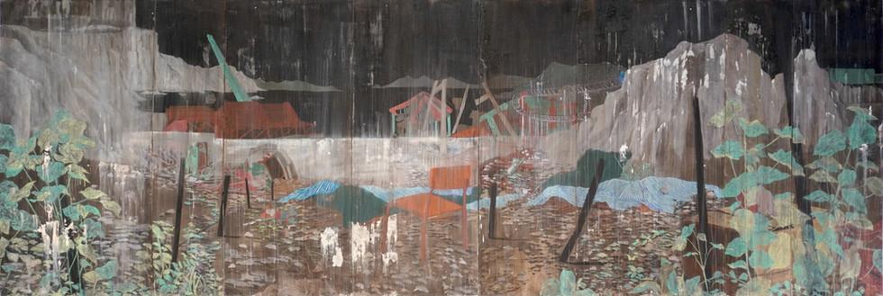"""The last Sunset"" Mixed Media on Canvas, 210 x 640 cm ( set of 8), 2020 (Private collection)   《早行的人見太陽落了下去》 混合媒介布本, 210 x 640 公分 (一組八件),2020 (私人收藏)"