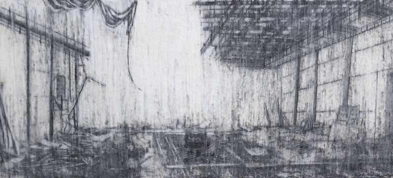 """The mist of time I""  Pencil and Wax Crayon on Paper, 39 x 87 cm, 2020  《迷霧 I》 木炭、鉛筆、蠟筆紙本,39 x 87 公分,2020"