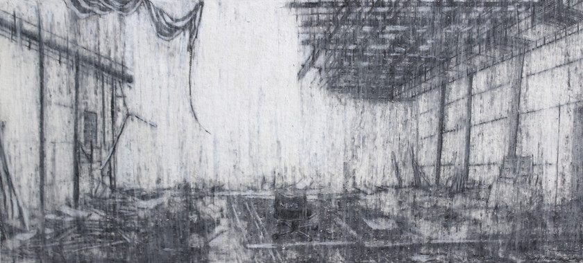 """""""The mist of time I""""  Pencil and Wax Crayon on Paper, 39 x 87 cm, 2020  《迷霧 I》 木炭、鉛筆、蠟筆紙本,39 x 87 公分,2020"""