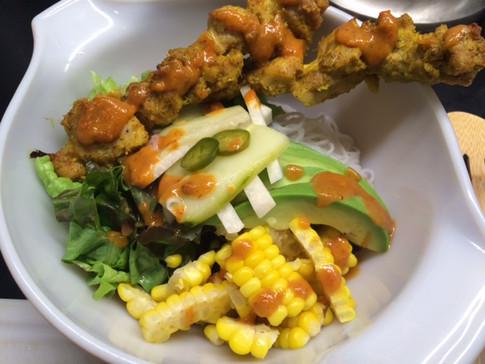 Chicken satay noodle bowl