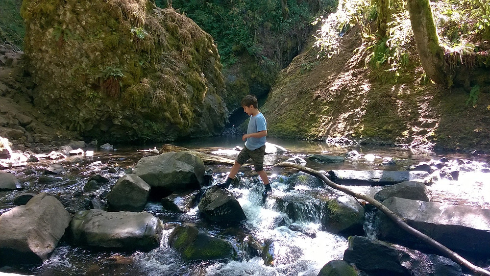 Playing in a PNW river.