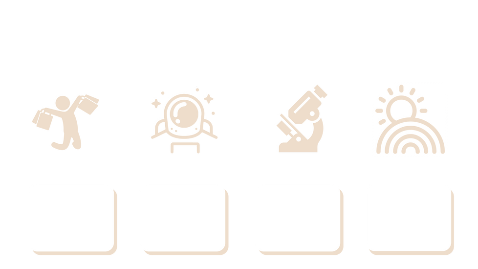 A selection of clip art representing various Scavenger Hunt Games; A jumping person with arms full of shopping bags, An astronaut amongst the stars, A microscope, A sun and rainbow.