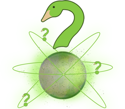 The Goose's Quizzes 'Goostion Mark' logo, with the period of the question mark acting as an alien planet. There are 3 smaller Goostion Marks orbiting this planet as satellites.