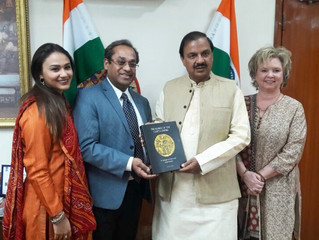 Book Presented to Minister of Culture - Dr. Mahesh Sharma