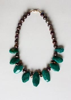 #984 Amazonite russe, perle, bronze, verre, rempli d'or