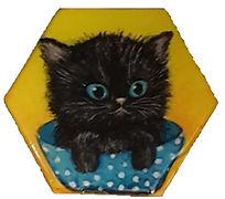 מגנט משושה חתול שחור בגיגית רקע צהוב.jpg