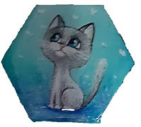 מגנט משושה רקע תכלת חתול אפור.jpg