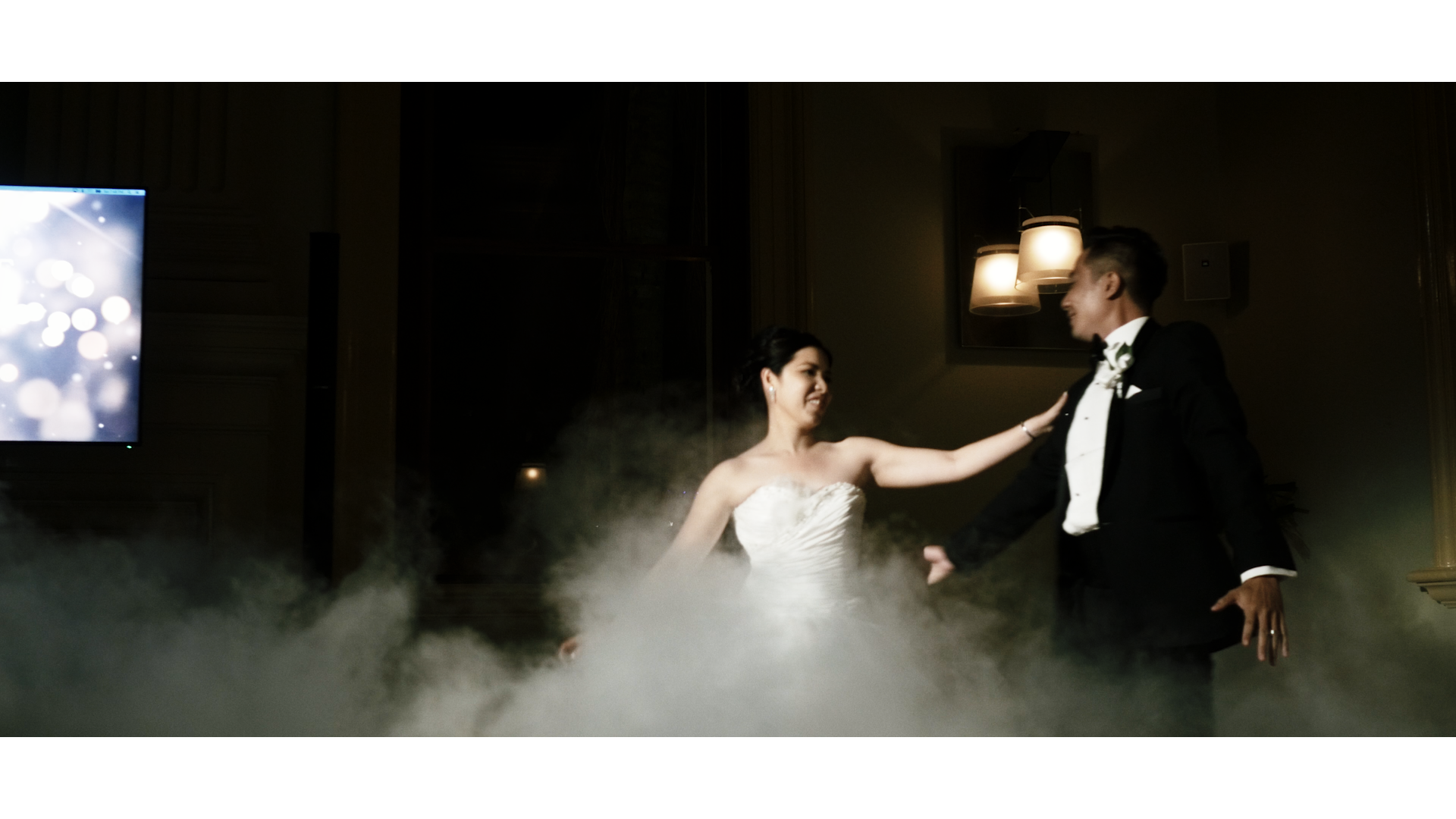 Pauline and Jack's first dance in a sea of clouds