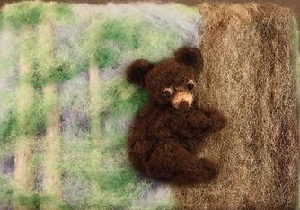 Felted bear cub