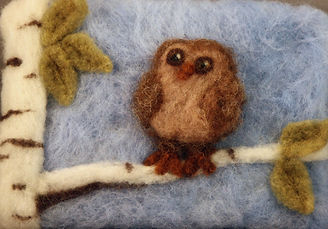 Felted baby owl