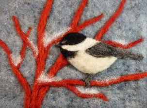 Needle felted chickadee