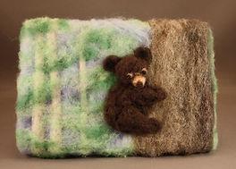 Needle felted bear cub