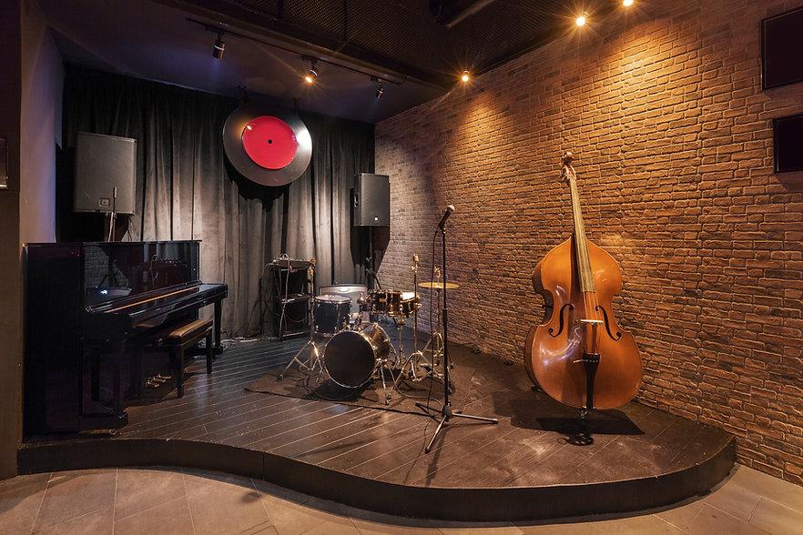 Modern jazz bar interior design, stage w