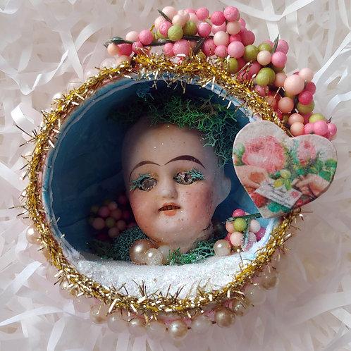 Antique Dollhead Diorama Ball Ornament