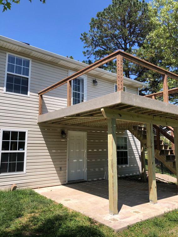 New deck. Composite decking with cable restraint handrails.