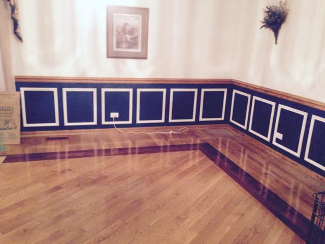 Wainscot and hardwood flooring