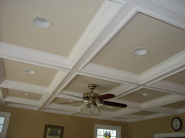 Coffert ceiling and can lights