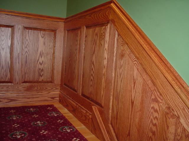 full basement finish with all custom raised panel, solid oak wainscot