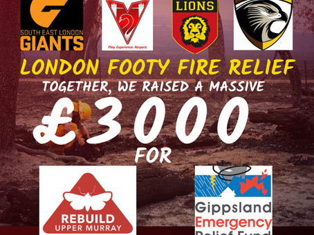 £3000 Raised for Footy Fire Relief