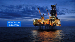 Petroleum Industry - Offshore Oil Rig - Extraction of Crude Oil & Gas from Ocean - Industrial Valves
