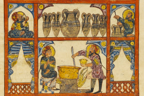 Preparing Medicine from Honey, Folio from an Arabic translation  of the Materia Medica of Dioscorides (Iraq 1224) Metropolitan Museum NY