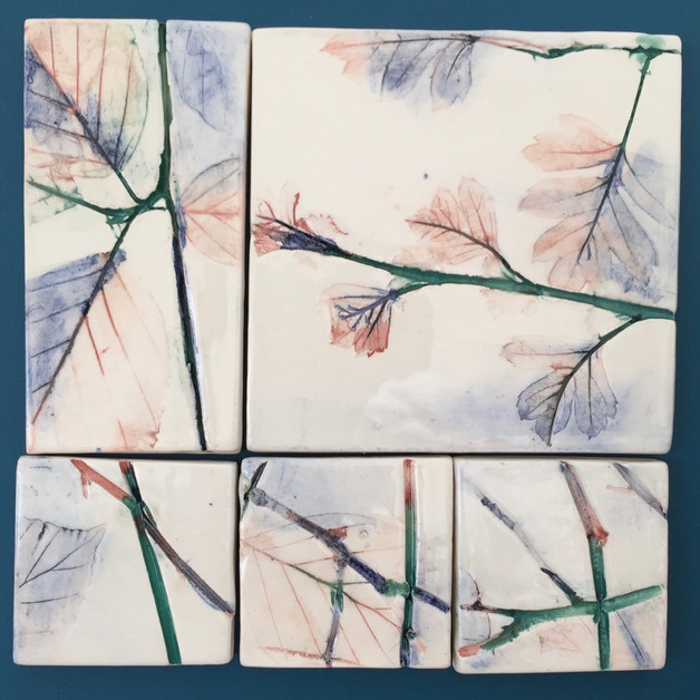 Mounted hedgerow ceramic tiles